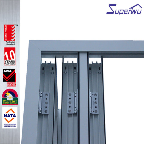 Soundproof thermal break wooden color Luxury Exterior Patio Lowes Glass Accordion Aluminium Bi-fold Doors on China WDMA