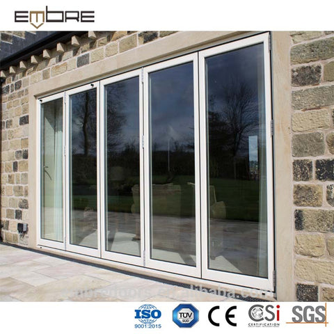 Space saving exterior aluminum louver glass folding door on China WDMA