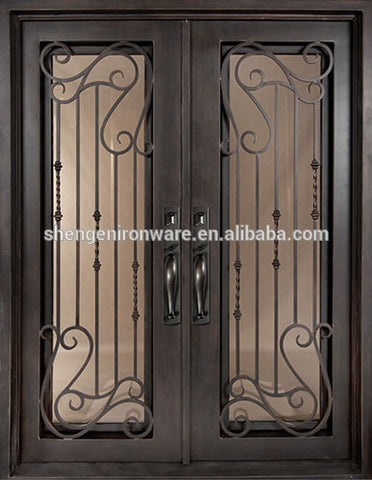 Square Top NEW DESIGN Double Iron Entry Doors SE-GD022 on China WDMA