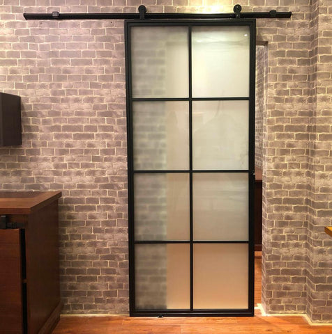 Steel Sliding 8FT Panel Barn Door with Hardware Kit, Black French Sliding Door Steel Framed Glass Door Metal with Hardware Kit on China WDMA