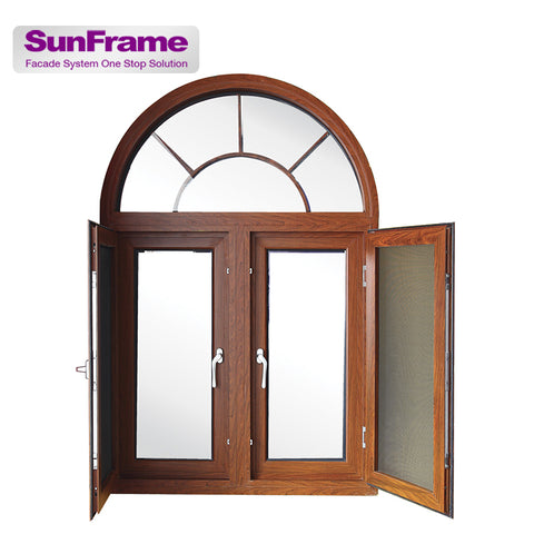 Sun Frame arched aluminum price philippines twin casement window with mosquito net outswing fly screens casement windows on China WDMA