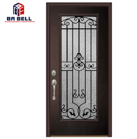 Superb quality timber frame exterior patio porte double black entry doors swing single steel door with glass on China WDMA