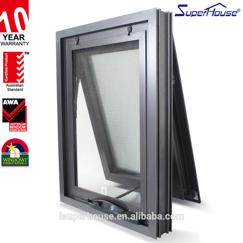 Superhouse AS2047 good price Black Aluminium fire rated Awning picture glass Window In Bedroom with fly screen on China WDMA