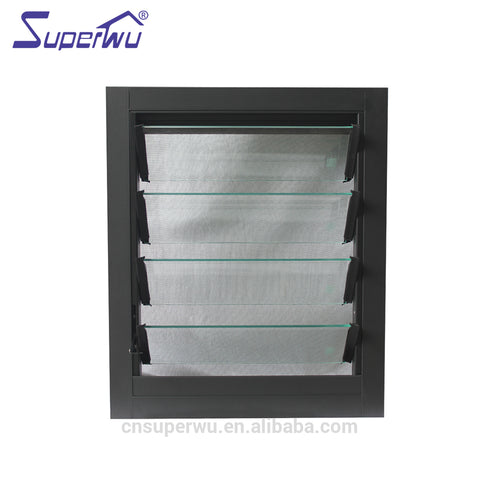 Superwu European style water proof glass window louvre low-E glass aluminium jalousie louvre windows on China WDMA