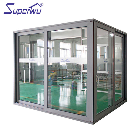 Superwu double glass aluminium corner sliding door used interior or exterior on China WDMA