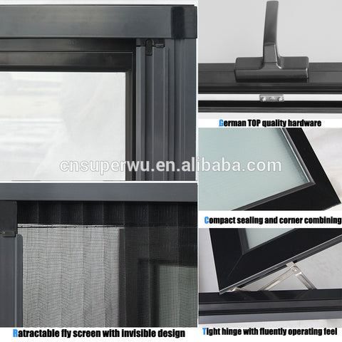 Superwu high quality double glazed aluminium awning windows for commercial use on China WDMA