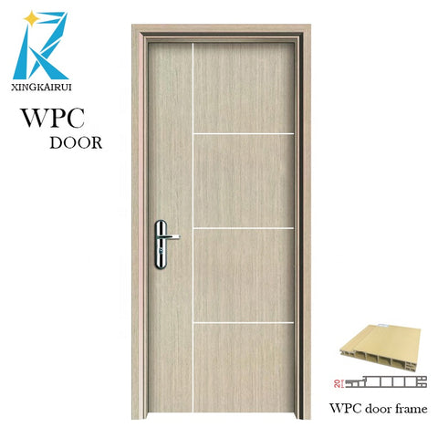 Swing open and finished surface finishing wood texture wpc door on China WDMA