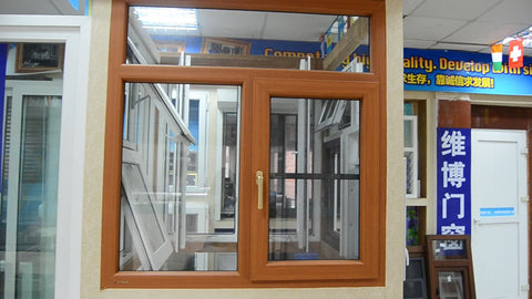 Upvc&pvc wood grain color Hurricane resistant casement window with fly screen on China WDMA