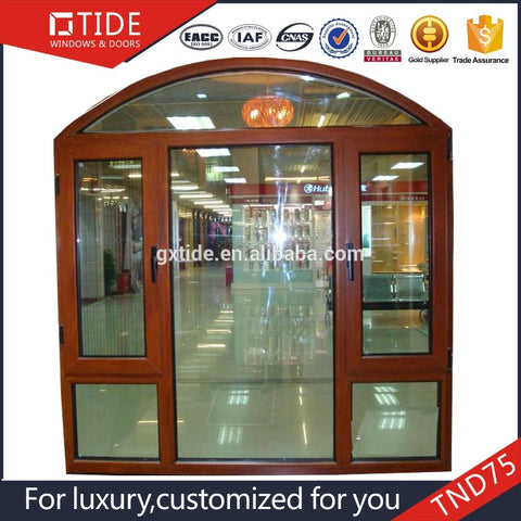 TIDE75 wooden door and window arched on top/aluminum clad wood arch windows on China WDMA