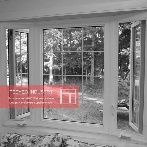 TeeYeo extrusion type white color cheap house vinyl windows for sale french casement style on China WDMA