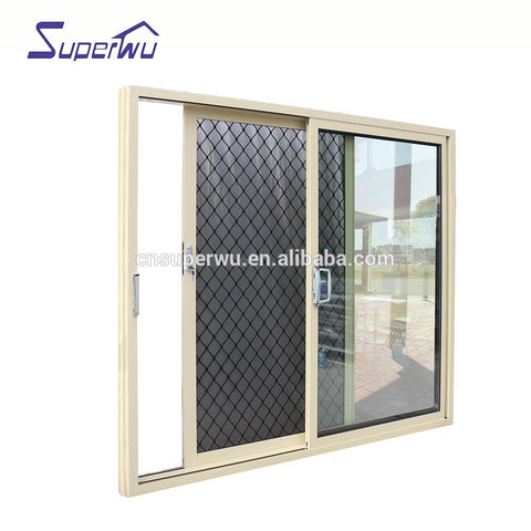 Tempered Glass Sliding Door/Aluminium Frame tempered glass interior Door with Grill Design on China WDMA