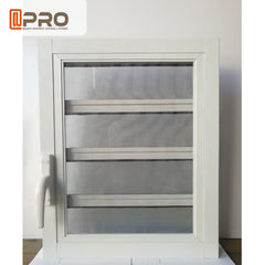 Tempered glass aluminum ventilation adjustable glass louver shutters window with security screen mesh on China WDMA