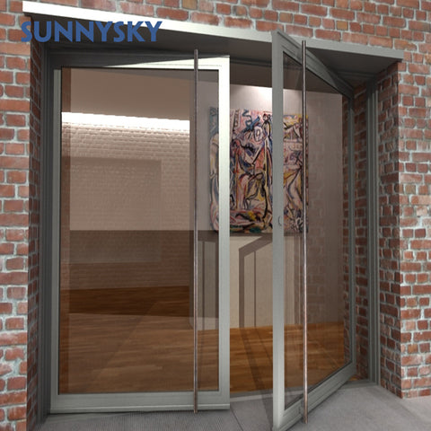 Thermal break American & Australia high quality modern Aluminum Low-E glass Pivot door for store on China WDMA