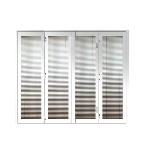 Thermal break aluminum BI-folding double glazing tempered glass doors White patio door with integral blinds shutter on China WDMA