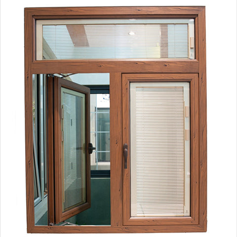 Thermal break blind inside double glass aluminum window french casement windows on China WDMA