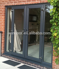 Thermal break exterior door and double panes french aluminum door with lock on China WDMA