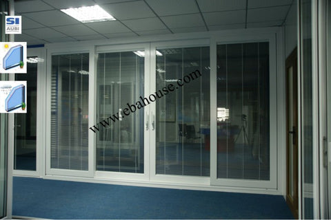 Thermal break four panels aluminum lift and sliding door with built-in blinds on China WDMA