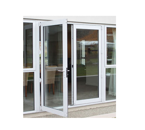 Thermal break frame decorative tempered glass aluminium casement doors for external with security screen on China WDMA