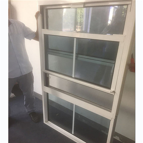 Thermally broken grill design american style glass aluminium vertical up down sliding windows sash single double hung window on China WDMA