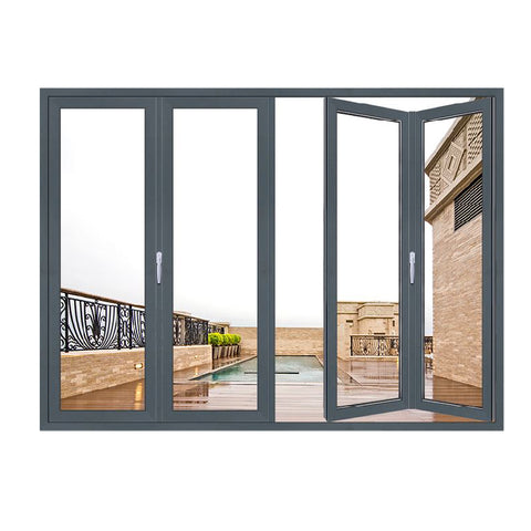 Top Quality Europe Upvc Aluminium Double Glass Sliding Folding Door For Entrance Folding Partition Walls on China WDMA