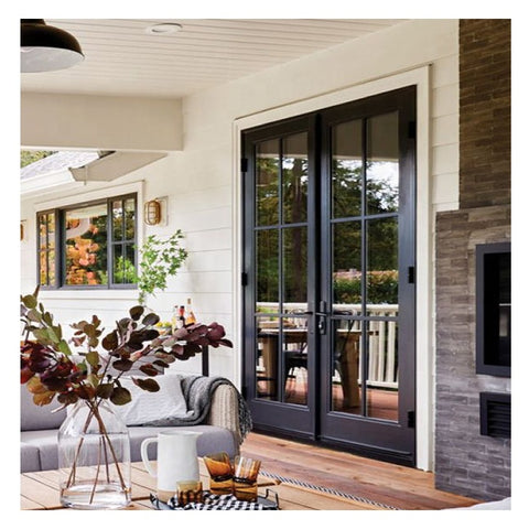 Top Window Used Exterior Soundproof Aluminum Frame Double Swing French Patio Double Glazing Door on China WDMA