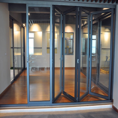 Top quality exterior main entrance aluminum bi folding glass door system on China WDMA