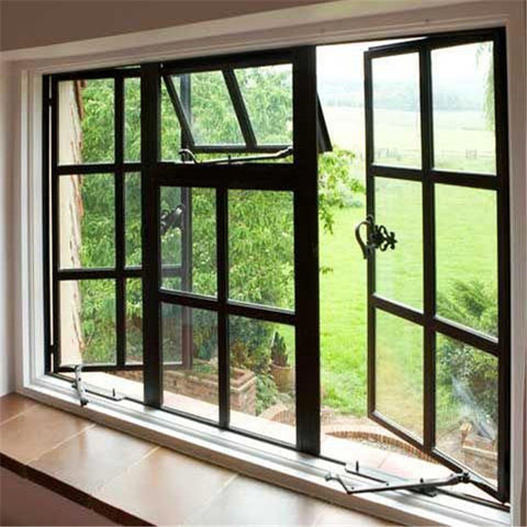 Topwindow Aluminum 4 Panels Casement Windows Aluminium Frame Casement Window With Tinted Glass on China WDMA