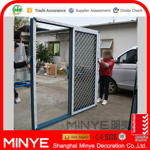 Triple tracks sliding glass door with security screen on China WDMA