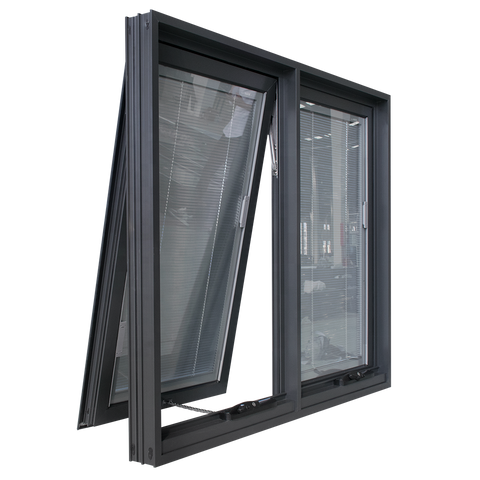 USA Certified Energy-Saving Aluminum awing window casement window with blinds inside grill design double pane aluminum window on China WDMA