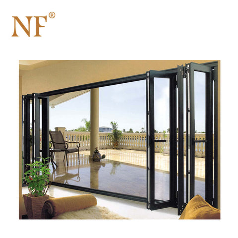 Used storm hurricane proof impact glass exterior folding bifolding doors on China WDMA