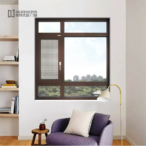 W95 Economical price vertical triple pane aluminum mosquito net interior glass thermal break french casement window on China WDMA