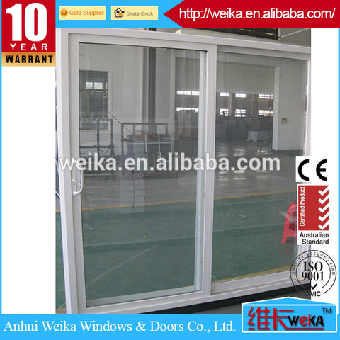 White Right-Hand Vinyl Sliding Patio Door with LowE Tempered Grid Glass on China WDMA