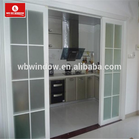 White UPVC sliding glass panel patio door with grill design on China WDMA