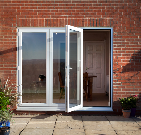 White Upvc Folding Patio Doors , Pvc Folding Door Accordion Doors Lowes Price on China WDMA