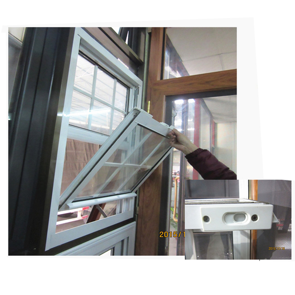 White color american style house window design 1.4mm frame thickness make aluminium window used aluminium single top hung window on China WDMA