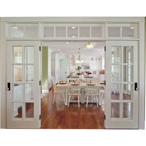 White modern design interior entry solid wooden french kitchen door with glass on China WDMA