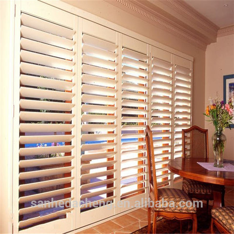 White style cabinet doors PVC plantation louver shutters Window