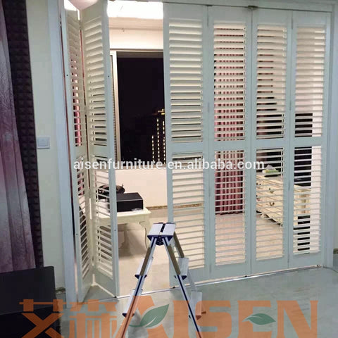 Wholesale cheap price China custom outdoor indoor interior exterior french door window blinds plantation shutters on China WDMA
