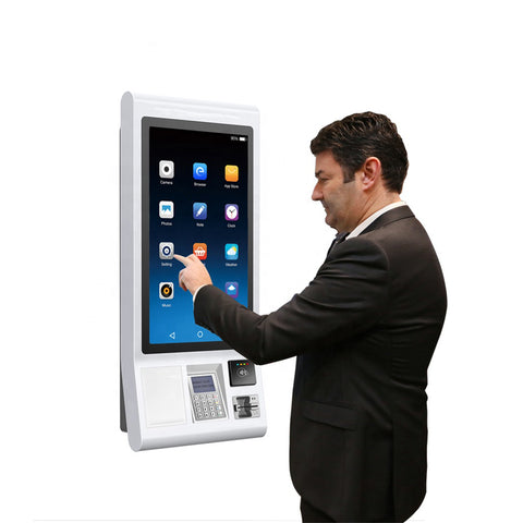 Windows/Android LCD touch screen 32 inch self-service ordering machine with QR scanner,receipt printer and POS all in one kiosk on China WDMA