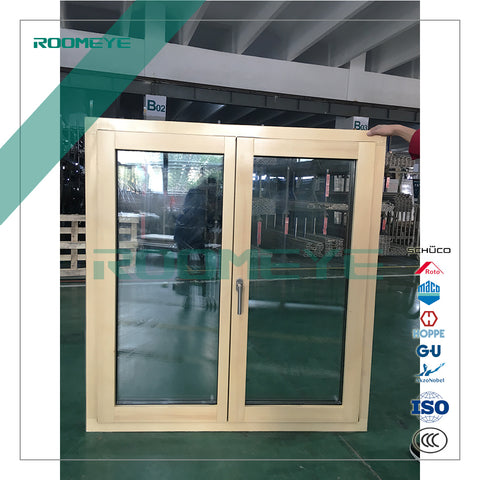 Wood clad aluminum casement window with inbuilt blinds on China WDMA