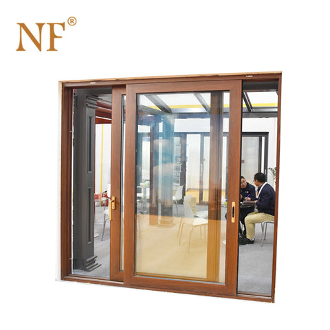 Wood cladding aluminium frame double glazing sliding door on China WDMA