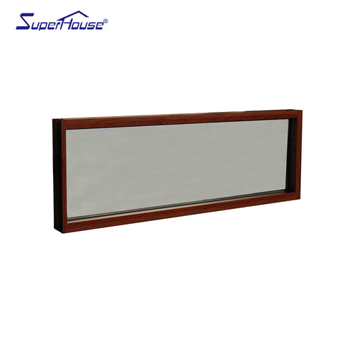 Wood grain aluminium frame tempered frosted glass windows hurricane impact window on China WDMA