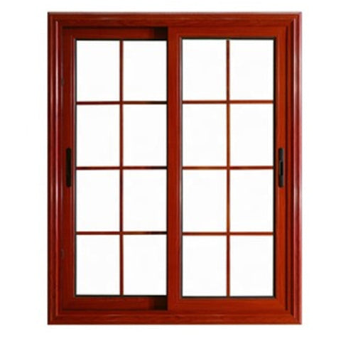 Wooden Grain Aluminum Frame Tempered Glass Aluminium Sliding Windows on China WDMA
