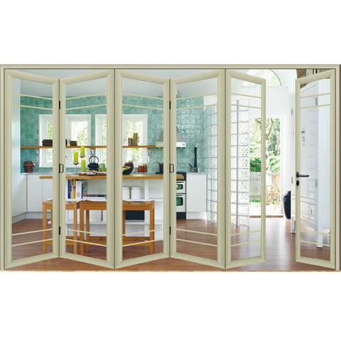 Wooden color powder coated toughened glass bi fold glass doors on China WDMA