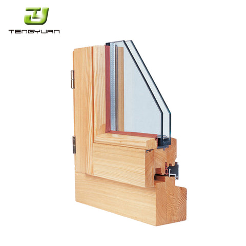 Wooden design most popular 85mm aluminium clad wood project window on China WDMA