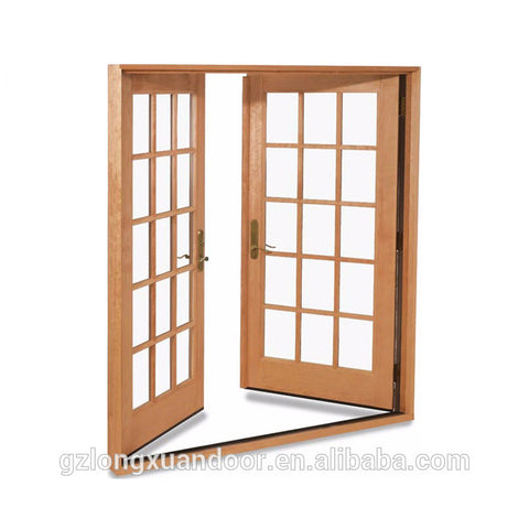 Wooden glass double external french doors design on China WDMA