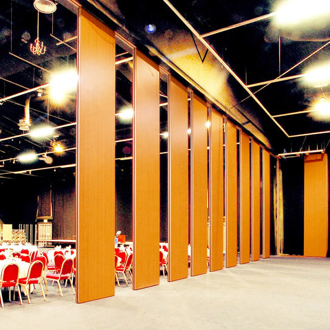 Wooden soundproof sliding folding door partition wall for church Masjid mosque temple on China WDMA