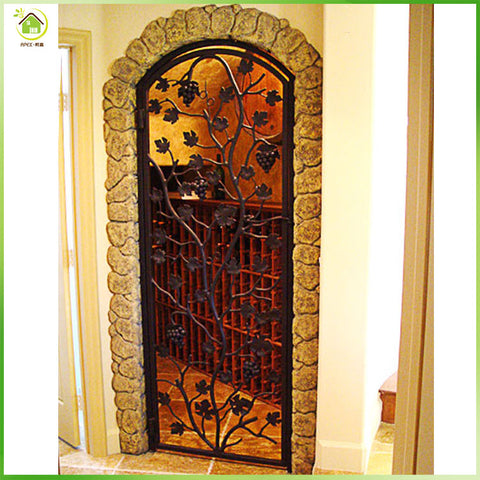 Wrought iron doors and windows wine cellar door & cabinet doors on China WDMA