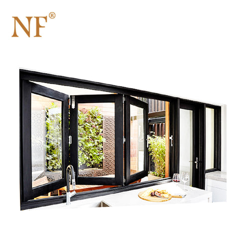 Wrought iron window balcony double glazed hurricane proof glass accordion bi folding window on China WDMA