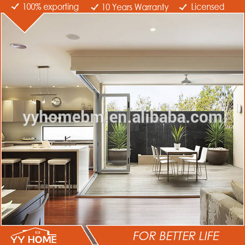 YY home aluminium bifold door wooden door designs exterior glass folding windows&door on China WDMA